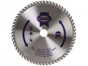 Circular Saw Blade 254 x 16/25/30mm x 60T Fine Finish