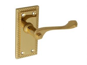 Backplate Handle Latch - Georgian Brass 104mm