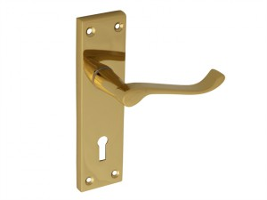 Backplate Handle Lock - Scroll Victorian Brass Finish 150mm