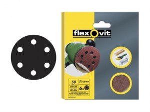 Hook & Loop Sanding Discs 150mm Coarse 50g (Pack of 6)