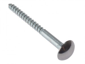 Mirror Screw Chrome Domed Top Slotted CSK ST ZP 1.1/2in x 8 Bag 10