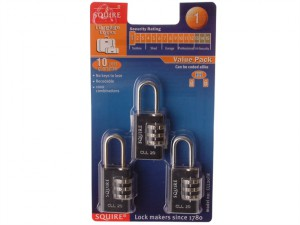 Toughlock Re-Codeable Black Combination Padlocks 20mm (Pack of 3)