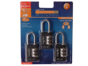 Toughlock Re-Codeable Black Combination Padlock 30mm (Pack of 3)