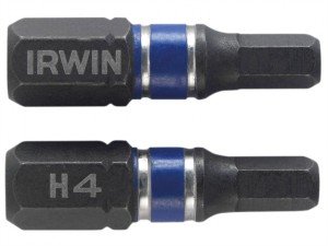 Impact Screwdriver Bits Hex 4 25mm Pack of 2