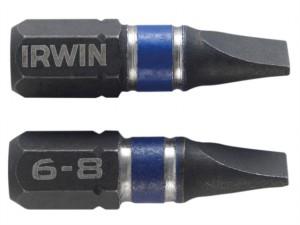 Impact Screwdriver Bits Slotted 6.5 x 25mm Pack of 2