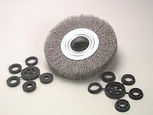 Wheel Brush D200mm x W24-27 x 50 Bore Stainless Steel Wire 0.30