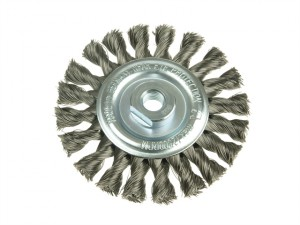 Knot Wheel Brush 115 x 14mm 22.2mm Bore Stainless Steel Wire