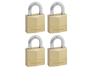 Solid Brass 20mm Padlock 3-Pin - Keyed Alike x 4