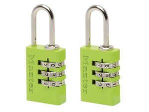 Aluminium Combination Padlocks 3 Digit Colour 20mm x 2