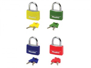 Aluminium Coloured Vinyl Cover 40mm Padlock 4-Pin - Keyed Alike x 4