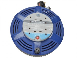 Cassette Cable Reel 15 Metre 4 Socket Thermal Cut-Out Blue 10A 240 Volt