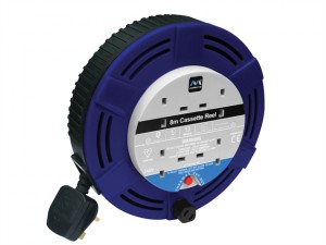 Cassette Cable Reel 8 Metre 4 Socket Thermal Cut-Out Blue 13A 240 Volt