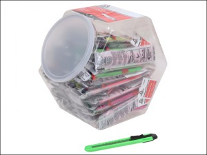 Plastic Neon 9mm Snap-Off Knife Jar of 75 Knives with 1 Blade