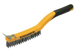 Stainless Steel Wire Brush Soft Grip with Scraper 355mm (14in) - 3 Row