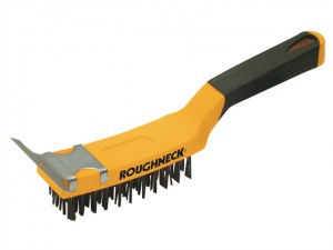 Carbon Steel Wire Brush Soft Grip with Scraper 300mm (12in)