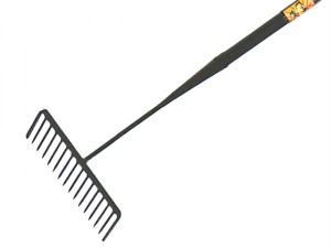 Tarmac Rake 16 Round Teeth - Tubular Steel Shaft Handled