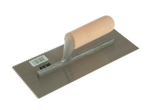 Notched Trowel 5mm V Notches Wooden Handle 11in x 4.1/2in