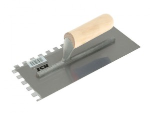 Notched Trowel Square 10 x 10mm Wooden Handle 11in x 4.1/2in