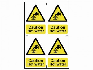 Caution Hot Water - PVC 200 x 300mm