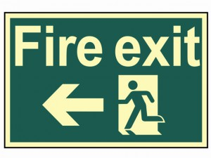 Fire Exit Running Man Arrow Left - Photoluminescent 300 x 200mm