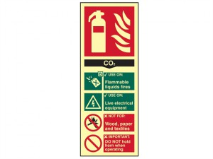 Fire Extinguisher Composite CO2 - Photoluminescent 75 x 200mm