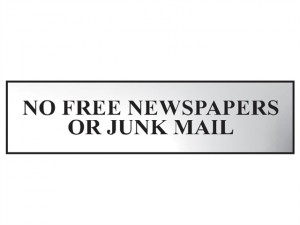 No Free Newspapers Or Junk Mail - Polished Chrome Effect 200 x 50mm