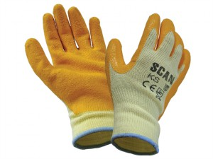 Knit Shell Latex Palm Gloves One Size