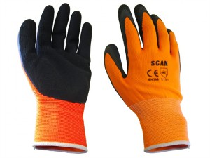 Hi-Vis Orange Foam Latex Coated Gloves - Large (Size 9)