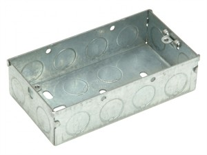 Metal Back Box 2 Gang 25mm Depth - Carded