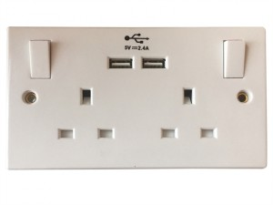 Switched Socket 2 Gang 13A with 2 x USB