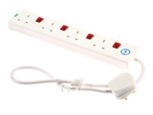 Extension Lead 240 Volt 4 Way 13A Surge Protection Switched 0.75 Metre