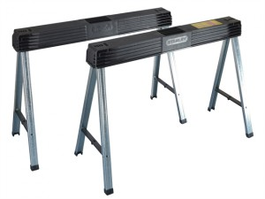 Folding Metal Leg Sawhorses (Twin Pack)