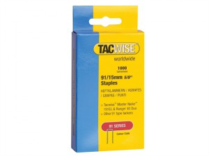 91 Narrow Crown Staples 15mm - Electric Tackers Pack 1000