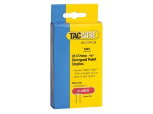 91 Narrow Crown Divergent Point Staples 22mm - Electric Tackers Pack 1000