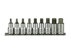 M1212 Socket Clip Rail Hex Set of 9 Metric 1/2in Drive