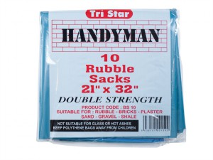 Heavy-Duty Blue Rubble Sacks (10) 20 x 30in