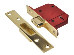 StrongBOLT 2100S BS 5 Lever Mortice Deadlock 68mm 2.5in Satin Brass Visi