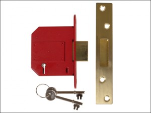 StrongBOLT 2100S BS 5 Lever Mortice Deadlock 81mm 3in Satin Brass Visi