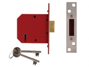 2101 5 Lever Mortice Deadlock Satin Chrome Finish 77.5mm 3in Visi