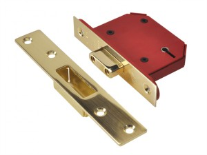 StrongBOLT 2105S Polished Brass 5 Lever Mortice Deadlock Visi 81mm 3in