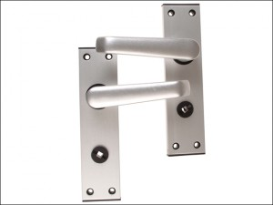 Ambassador Lock Standard Plate Bathroom Set Anodised Silver Visi Pack