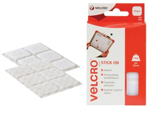 VELCRO® Brand Stick On Squares 25mm White Pack of 24