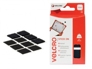 VELCRO® Brand Stick On Squares 25mm Black Pack of 24