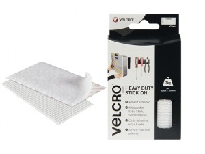 VELCRO® Brand Heavy-Duty Stick On Strips (2) 50 x100mm White