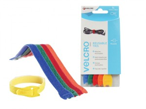 VELCRO® Brand ONE-WRAP® Reusable Ties (5) 12mm x 20cm Multi-Colour