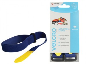 VELCRO® Brand Adjustable Straps (2) 25mm x 46cm Blue