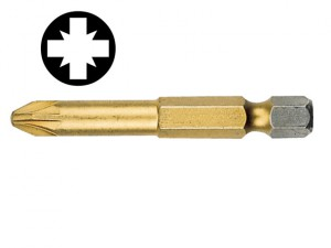 Pozidriv 2pt Titanium Coated Screwdriver Bit 50mm