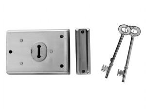 P402 Rim Lock Chrome Finish 102 x 76mm Visi