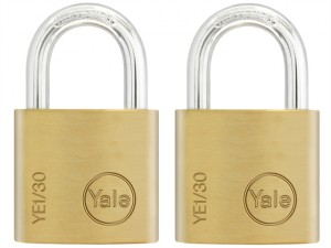 YE1 Brass Padlock 30mm (2 Pack)