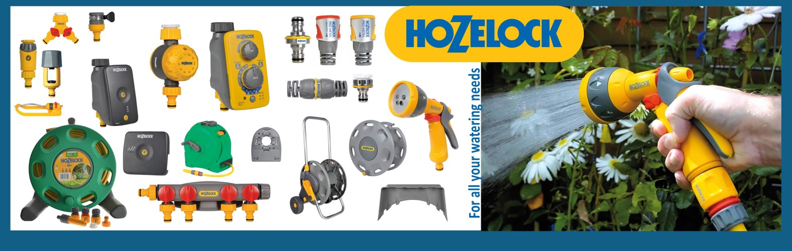 View our range of Hozelock hoses, adapters, reels and watering systems